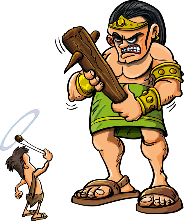 Cartoon David and Goliath